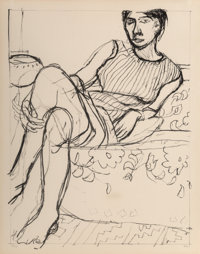Richard Diebenkorn (1922-1993) Seated Woman in a Striped Dress, from Seated Woman, 1965 Lithograph on Arches paper