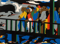 Jacob Lawrence (1917-2000) Confrontation at the Bridge, 1975 Screenprint in colors Strathmore paper 19-1/2 x 25-7/8 i