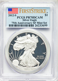 2012-S $1 Silver Eagle, 75th Anniversary San Francisco Mint Set, First Strike, PR70 Deep Cameo PCGS. This lot will also...