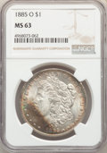 1885-O $1 MS63 NGC. NGC Census: (77074/129689). PCGS Population: (74847/101295). MS63. Mintage 9,185,000. ...(PCGS# 7162...