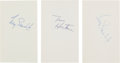 Hockey Collectibles:Others, 1960's Terry Sawchuk & Tim Horton Signed Index Cards Lot of 3. ...