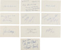 Baseball Collectibles:Others, 1920's-'50's Baseball Hall of Famers Signed index Cards Lot of 10. ...