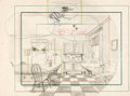 Animation Art:Production Drawing, Silly Symphony - Bug in Love Background Layout Drawing (Walt Disney, 1932). . ...