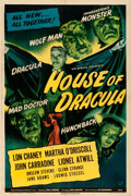 "Movie Posters:Horror, House of Dracula (Universal, 1945). Fine/Very Fine on Linen. One Sheet (27.25"" X 41"").. ..."