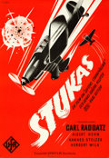 "Movie Posters:War, Stukas (UFA, 1941). Rolled, Very Fine+. Full-Bleed Swedish One Sheet (27"" X 39.5"") Hakasson Artwork.. ..."