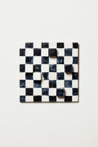 Sabra Moon Elliot Touch and go, 2019 Wood and acrylic 11-1/2 x 11-1/2 x 1-1/2 inches (29.2 x 29.2 x 3.8 cm)  Courte