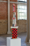 Fine Art - Sculpture, American, Tony Matelli. Yesterday, 2019. Painted bronze, rub oil transfers, urethane, beer can, and painted steel. 48 x 12 x 11 in...