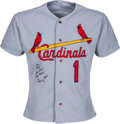 Baseball Collectibles:Uniforms, 1995 Ozzie Smith Game Worn & Signed St. Louis Cardinals Jersey....