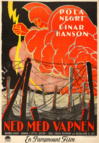 "Barbed Wire (Paramount, 1927). Fine/Very Fine on Chartex. Swedish One Sheet (27.5"" X 39.5"")"