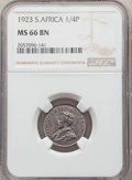 South Africa, South Africa: George V 1/4 Penny1923 MS66 Brown NGC,...