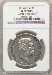 1883 $1 Hawaii Dollar -- Harshly Cleaned -- NGC Details. XF. NGC Census: (76/335). PCGS Population: (204/577). CDN: $460...