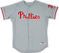 Baseball Collectibles:Uniforms, 2000 Curt Schilling Game Worn Philadelphia Phillies Jersey with Schilling Letter....