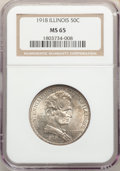 1918 50C Lincoln MS65 NGC. NGC Census: (1117/364). PCGS Population: (1362/704). MS65. Mintage 100,058
