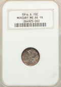 1916-S 10C MS64 Full Bands NGC. NGC Census: (192/119). PCGS Population: (314/319). CDN: $220 Whsle. Bid for NGC/PCGS MS6...