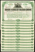 Dubuque & Sioux City Railroad Company 100 Shares Feb. 15, 1907 Twelve Consecutive Examples Extremely Fine, 8 POC...