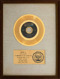 """Music Memorabilia:Awards, Steppenwolf """"Magic Carpet Ride"""" White Matte RIAA Gold Sales Award and Smothers Brothers Script. ... (Total: 2 Items)"""