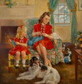 Mainstream Illustration, Frederick Sands Brunner (American, 1886-1954). The Knitting Lesson, circa 1949. Oil on canvas. 36 x 36 in.. Signed lower...