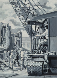 Zusman (American, 20th Century) Crane on Construction Site Gouache on board 13 x 9.25 in. (sight) Signed lower right