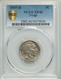 1937-D 5C Three-Legged XF40 PCGS. PCGS Population: (808/5509 and 0/39+). NGC Census: (0/0 and 0/0+). CDN: $500 Whsle. Bi...
