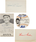 Autographs:Others, 1970's Hall of Famers Signed Ephemera Lot of 8....