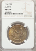 1936 50C Albany MS67+ NGC. NGC Census: (140/8 and 14/0+). PCGS Population: (196/3 and 26/0+). CDN: $550 Whsle. Bid for p...