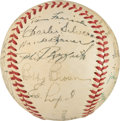 Baseball Collectibles:Balls, 1950 New York Yankees Team Signed Baseball from The Casey Stengel Collection - Signed by Stengel Twice!...