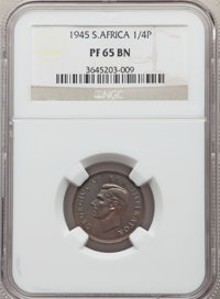 South Africa: George VI Proof 1/4 Penny 1945 PR65 Brown NGC