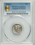 1942/1 10C -- Cleaned -- PCGS Genuine. VF Details. NGC Census: (0/0 and 0/0+). PCGS Population: (205/2592 and 0/6+). CDN...