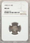 1902-O 10C MS64 NGC. NGC Census: (25/9). PCGS Population: (23/14). CDN: $1,150 Whsle. Bid for problem-free NGC/PCGS MS64...