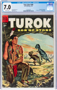 Four Color #596 Turok (Dell, 1954) CGC FN/VF 7.0 Off-white pages
