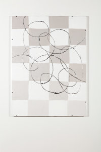 David Flaugher Untitled, 2019 Acrylic, graphite, & silverleaf on cardboard in artist-made frame 43 x 32 inches (...