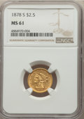 1878-S $2 1/2 MS61 NGC. NGC Census: (167/184). PCGS Population: (44/166). CDN: $440 Whsle. Bid for problem-free NGC/PCGS...