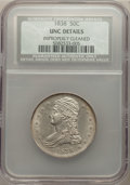 Reeded Edge Half Dollars, 1838 50C -- Improperly Cleaned -- NCS. Unc Details. NGC Census: (6/296). PCGS Population: (8/248). MS60. Mintage 3,546,000....