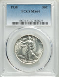 Walking Liberty Half Dollars: , 1938 50C MS64 PCGS. PCGS Population: (1180/2160). NGC Census: (720/1099). CDN: $140 Whsle. Bid for problem-free NGC/PCGS MS...