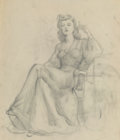 """Fine Art - Work on Paper, Gil Elvgren (American, 1914-1980). """"I'm Hot and You're Not"""" magazine interior illustration preliminary. Charcoal on trac..."""