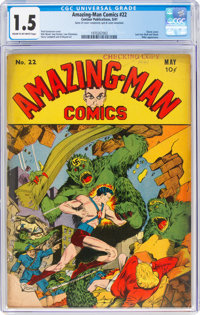 Amazing-Man Comics #22 (Centaur, 1941) CGC FR/GD 1.5 Cream to off-white pages