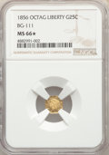 California Fractional Gold , 1856 25C Liberty Octagonal 25 Cents, BG-111, R.3, MS66★ NGC. NGC Census: (2/0 and 1/0*). PCGS Population: (3/0 and 1...