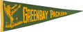 Football Collectibles:Others, 1930's Green Bay Packers Pennant. ...