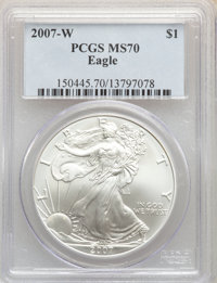 2007-W $1 Silver Eagle, Burnished MS70 PCGS. PCGS Population: (4784). NGC Census: (14721). Mintage 621,333....(PCGS# 150...
