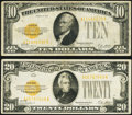 Small Size:Gold Certificates, Fr. 2400 $10 1928 Gold Certificate;. Fr. 2402 $20 1928 Gold Certificate.. Fine-Very Fine.. ... (Total: 2 notes)