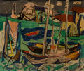 Fine Art - Painting, American, Vaclav Vytlacil (American, 1892-1984). Harbor, 1947. Oil on board. 29-1/2 x 34-1/2 inches (74.9 x 87.6 cm). Signed and d...