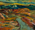 Fine Art - Painting, American, Darren Vigil Gray (American/Mexican, b. 1959). New Mexico River Valley. Oil on canvas. 42-1/4 x 48 inches (107.3 x 121.9...