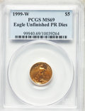 Modern Bullion Coins, 1999-W $5 Tenth-Ounce Gold Eagle, Unfinished Proof Dies, MS69 PCGS. PCGS Population: (1892/52). NGC Census: (2469/353). CDN...