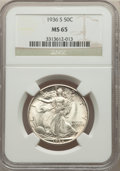 1936-S 50C MS65 NGC. NGC Census: (455/167). PCGS Population: (815/351). CDN: $475 Whsle. Bid for problem-free NGC/PCGS M...
