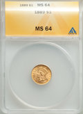 1889 G$1 MS64 ANACS. MS64. Mintage 29,000