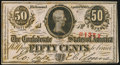 Confederate Notes:1863 Issues, T63 50 Cents 1863 PF-7 Cr. UNL Extremely Fine.. ...