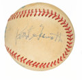 Autographs:Baseballs, Circa 1988 Pete Rose, Marge Schott, Bart Giamatti, & Morley Safer Signed Baseball....