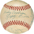 Baseball Collectibles:Balls, 1955 Hall of Famers Multi-Signed Baseball with Foxx, Baker, DiMaggio....