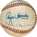 Baseball Collectibles:Balls, 1960's Hall of Famers Multi-Signed Baseball with Hornsby, Stengel....