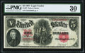 Large Size:Legal Tender Notes, Fr. 87 $5 1907 Legal Tender PMG Very Fine 30.. ...